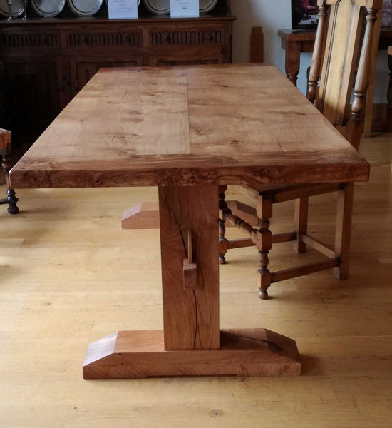 Oak trestle Pillar Table End View