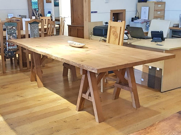 English Oak Trestle Dining Table with Waney Edge Top Angle View
