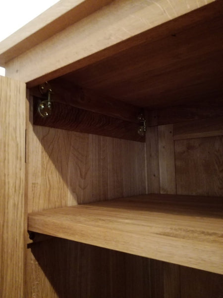 One drawer handmade solid oak double wardrobe close up