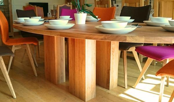 Twin column oak dining table base