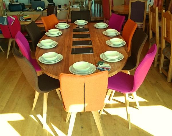 Oval oak dining table top