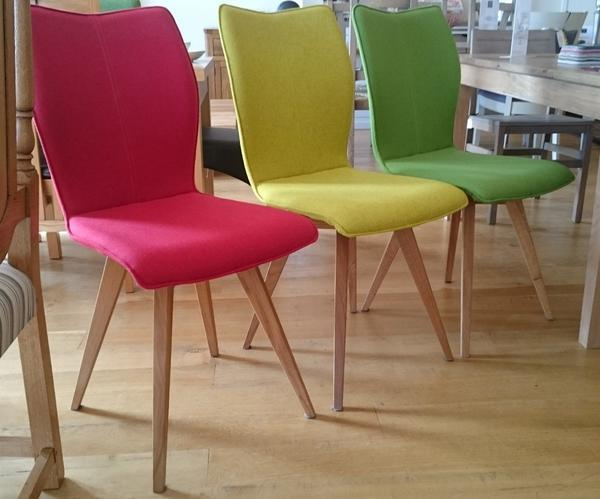 Three colour quadpod chairs