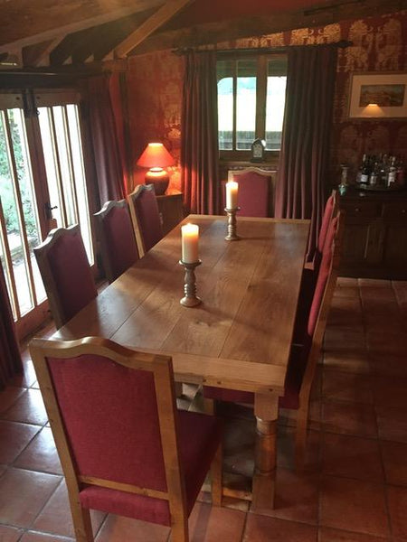 Refectory dining table with a set of oak Swailes side chairs