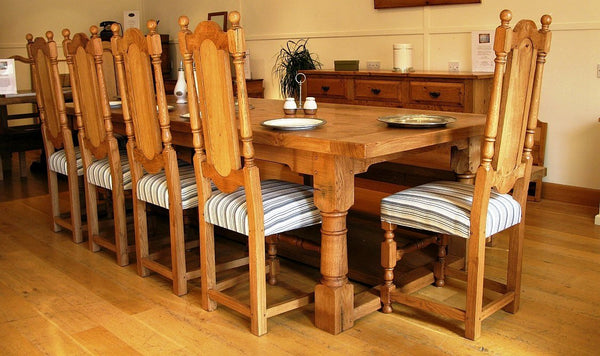 Refectory dining table with panel back chairs