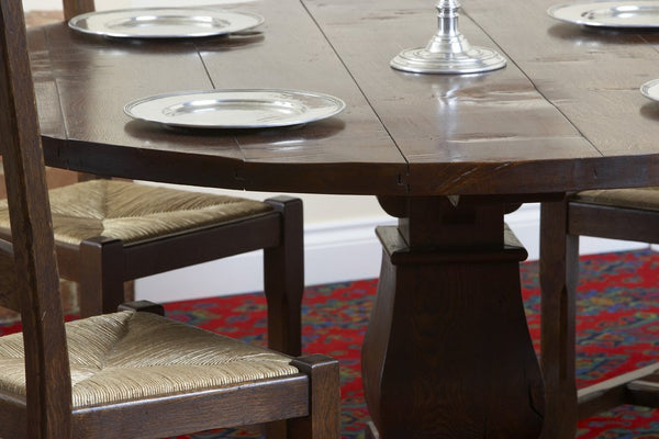 Round oak Baluster dining table top