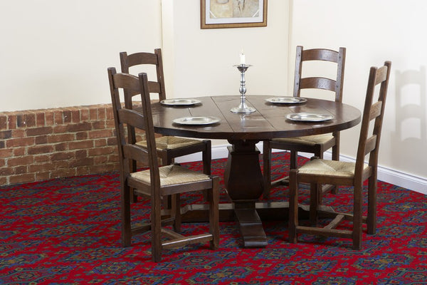Round oak Baluster dining table with chairs