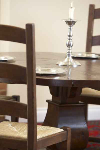 Round oak Baluster dining table close up