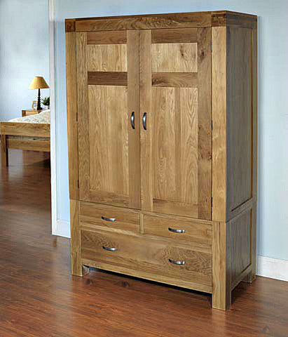 Double solid oak wardrobe