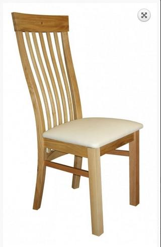 Sedlescombe oak side chair cream seat faux leather