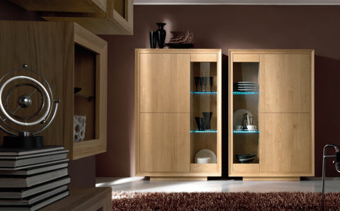 Glazed display cabinet oak