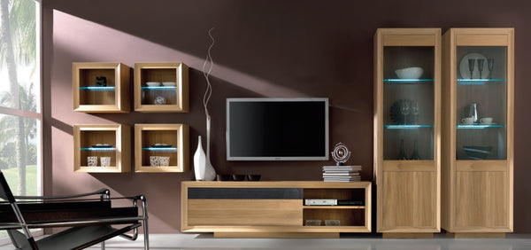 Wall fitted oak cube display unit with glass shelf