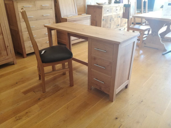 Single Pedestal Oak Dressing Table showroom