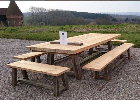 Outdoor Oak Garden Benches - Outside Dining Furniture