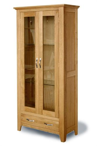 Staplecross oak display cabinet