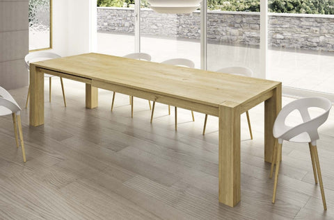 Contemporary solid oak extending dining table