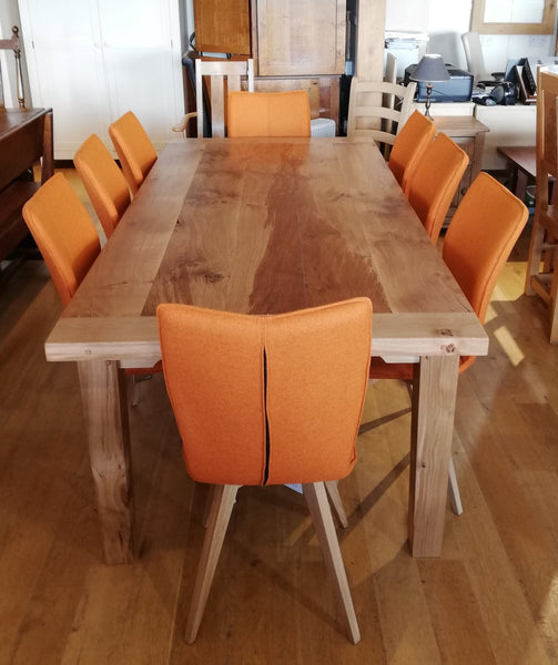 Orange Quadpod chairs with table set