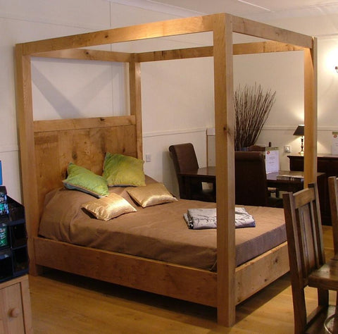 Swailes Open Four Poster Oak Bed Side view