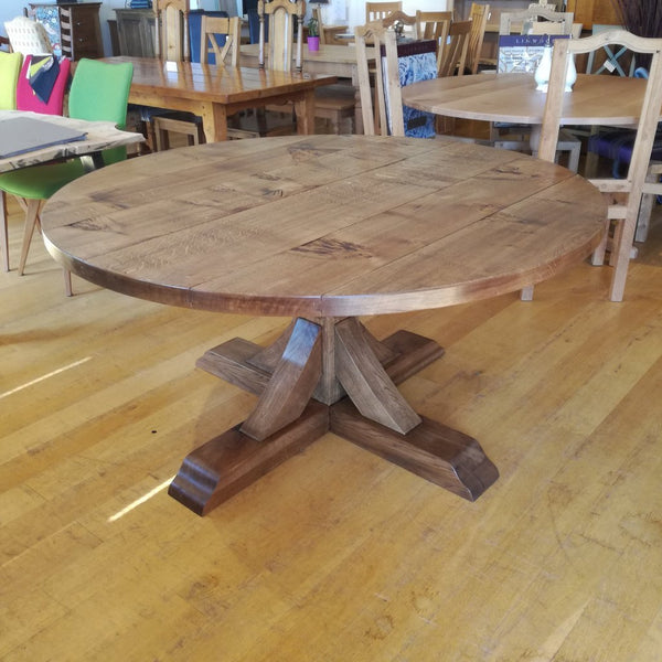 Swailes round oak dining table with braced pedestal