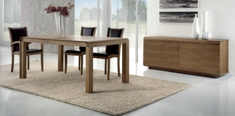 Contemporary solid oak extending table with curved edges
