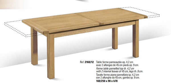 Tuscany Contemporary Centrally Extending Table With 2 x 45cm Leaves