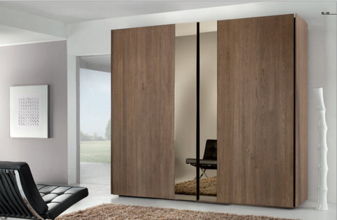 Tuscany Contemporary Wardrobe With 2 x Mirrored Sliding Doors