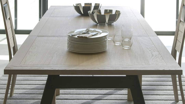Country - Oak and Steel Extending Table