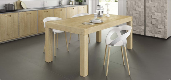 Fixed top contemporary oak dining table
