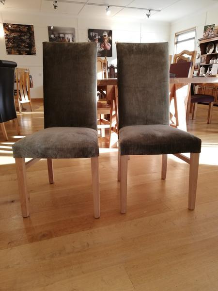 Tillingham fully upholstered oak side chairs front view
