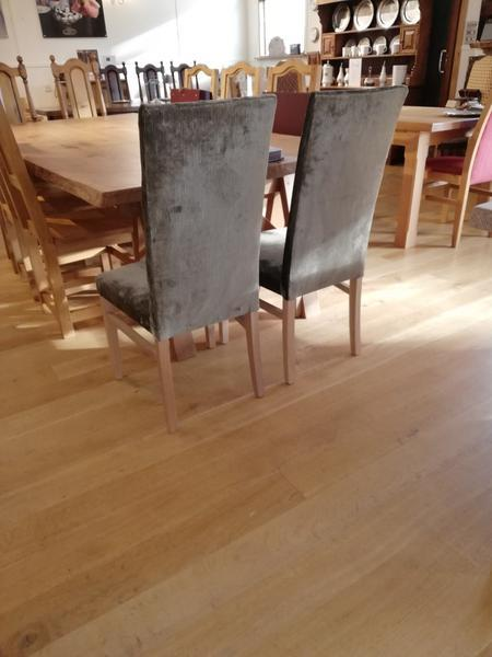 Tillingham fully upholstered oak side chairs rear view