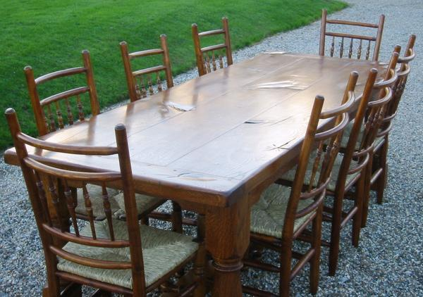 Traditional oak refectory dining table and chair set
