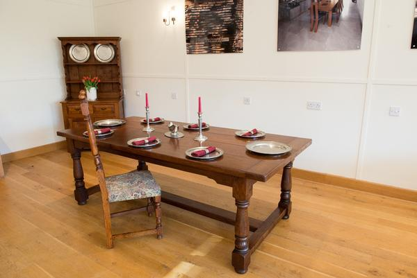 Traditional oak refectory dining table