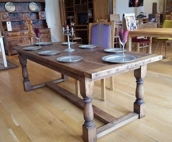 Traditional oak refectory dining table showroom
