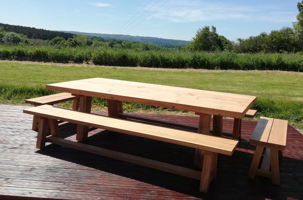 Outdoor Dining Furniture - Oak Splayed Leg Benches