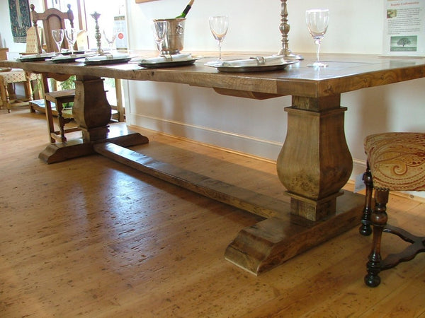 Twin Baluster Oak Table Base