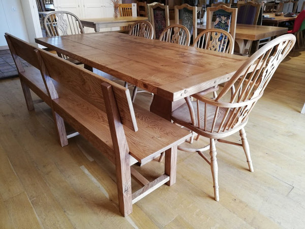 Twin Baluster Oak Table chair and bench set