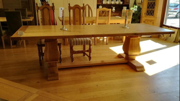 Twin Baluster Oak Table Side View