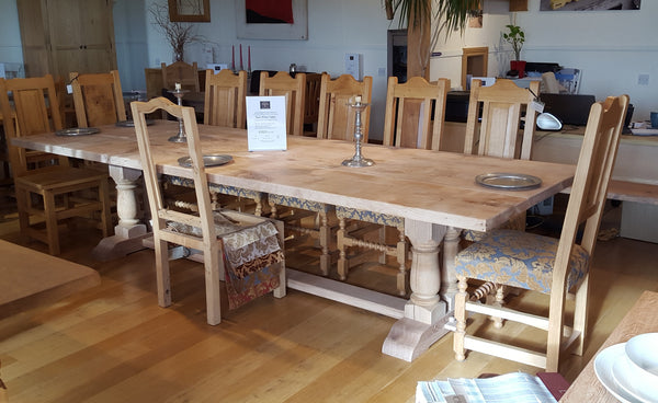 Handmade English Oak Twin Pillar Table