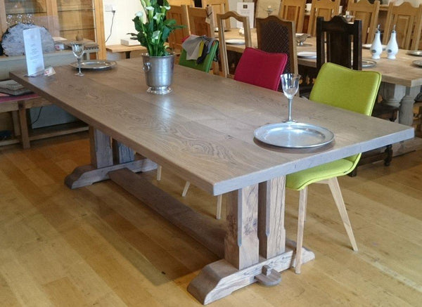 Twin column oak dining table