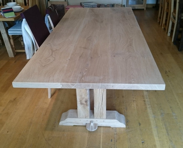 Twin column oak dining table top