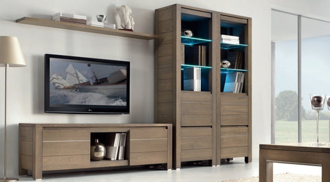 Tuscany Contemporary Vinci 2 Drawer Display Cabinet With Glass Shelves