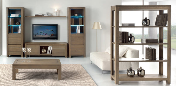 Tuscany Contemporary Vinci Open Bookcase With Glass Framed Shelves