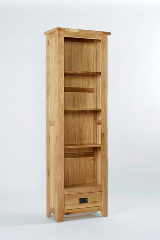 Westfield Reclaimed Oak Tall Narrow Bookcase With Drawer