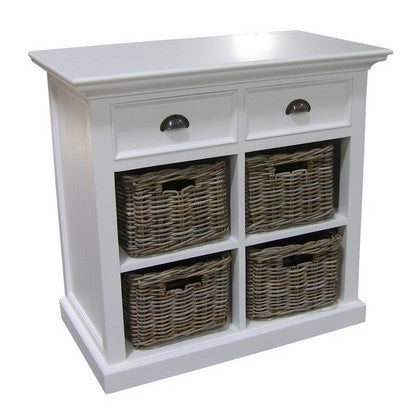 Whitstable Painted - Small Sideboard  With 4 Rattan Baskets