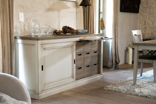 Part painted sideboard with oak tops