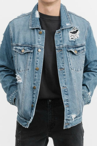 THRILLS CO Southern Destroy Wanderer Denim Jacket Vintage Blue