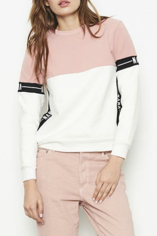 NANA JUDY Destiny Sweater Pink x White