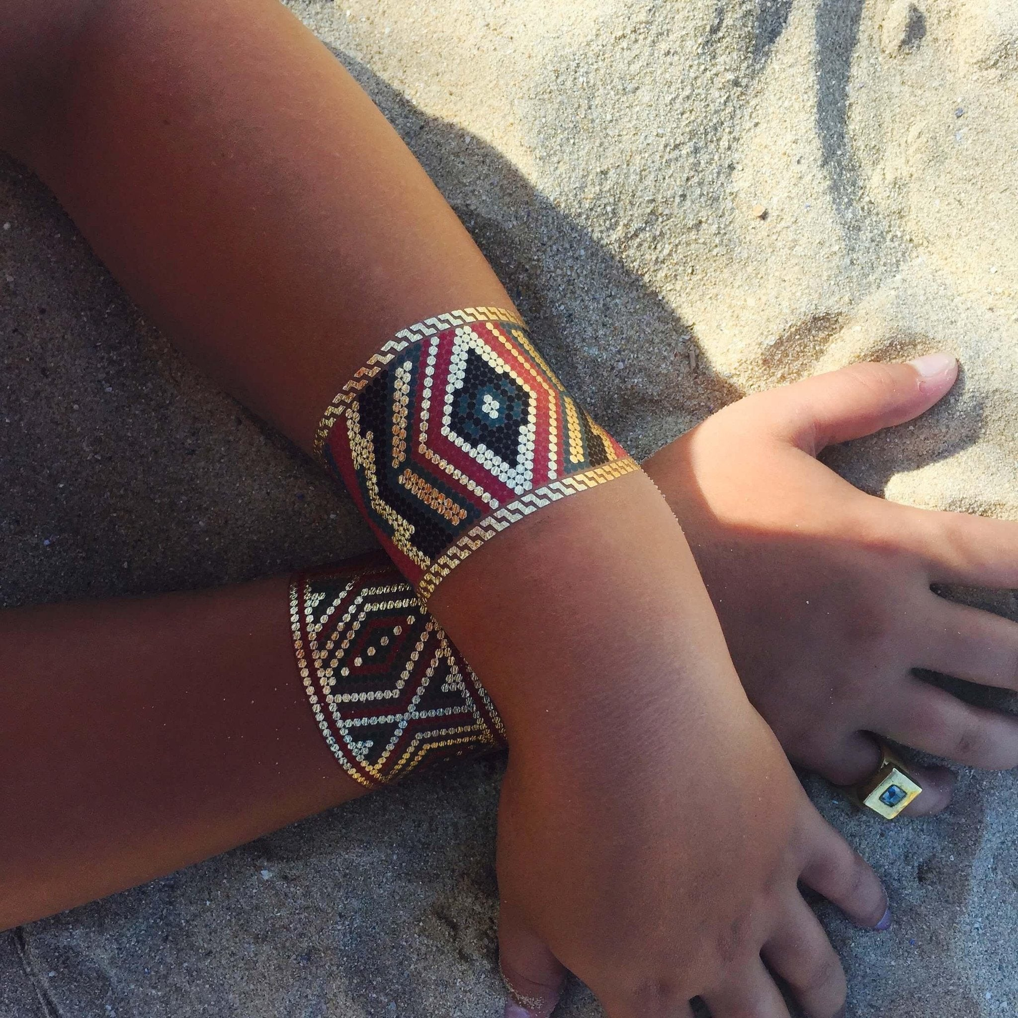 Azzy Aztec Temporary Metallic Tattoo Bracelets