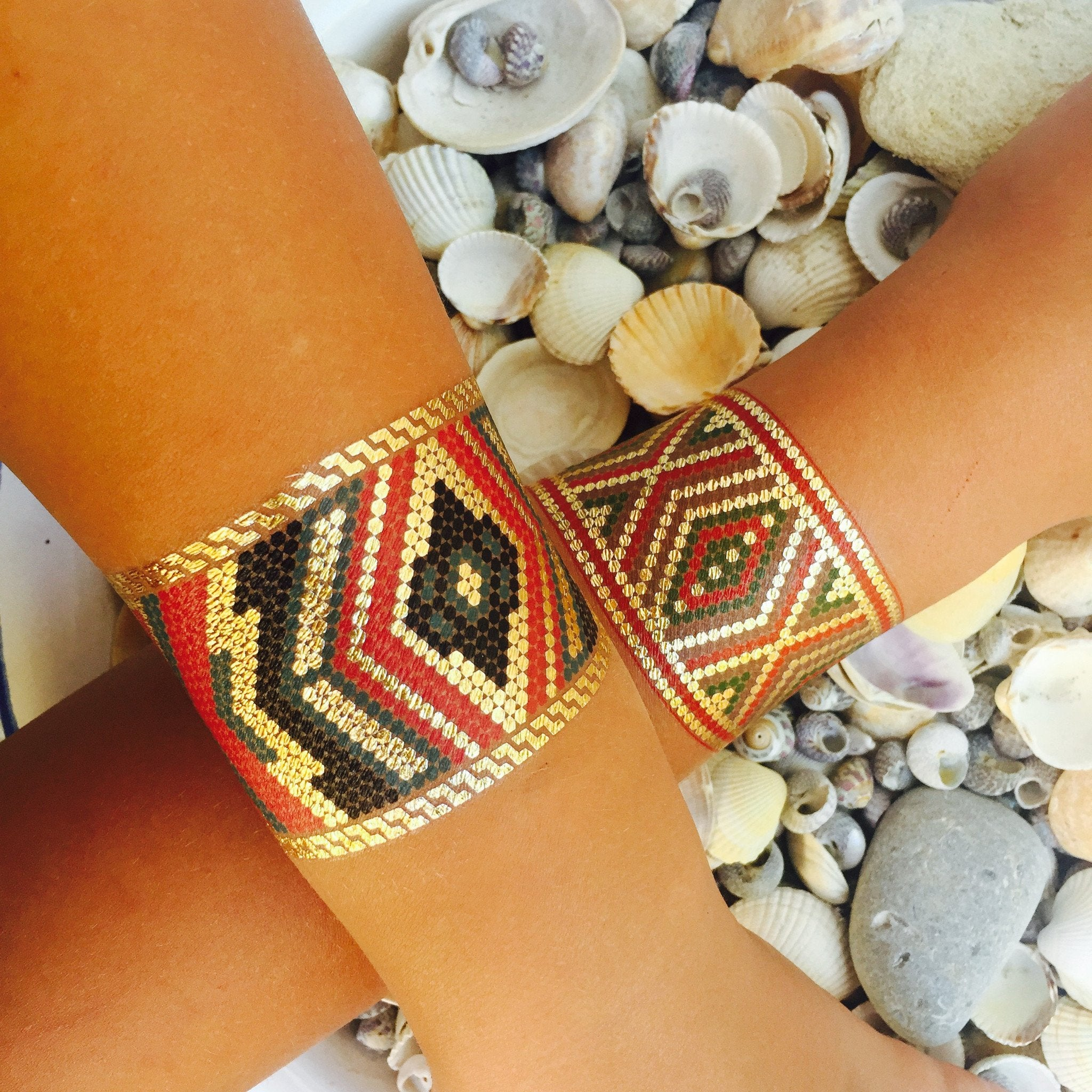 Azzy Aztec Temporary Metallic Tattoo Bracelets - Azzy London