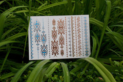 Indie Henna Rose Gold and Silver Temporary Metallic Tattoos