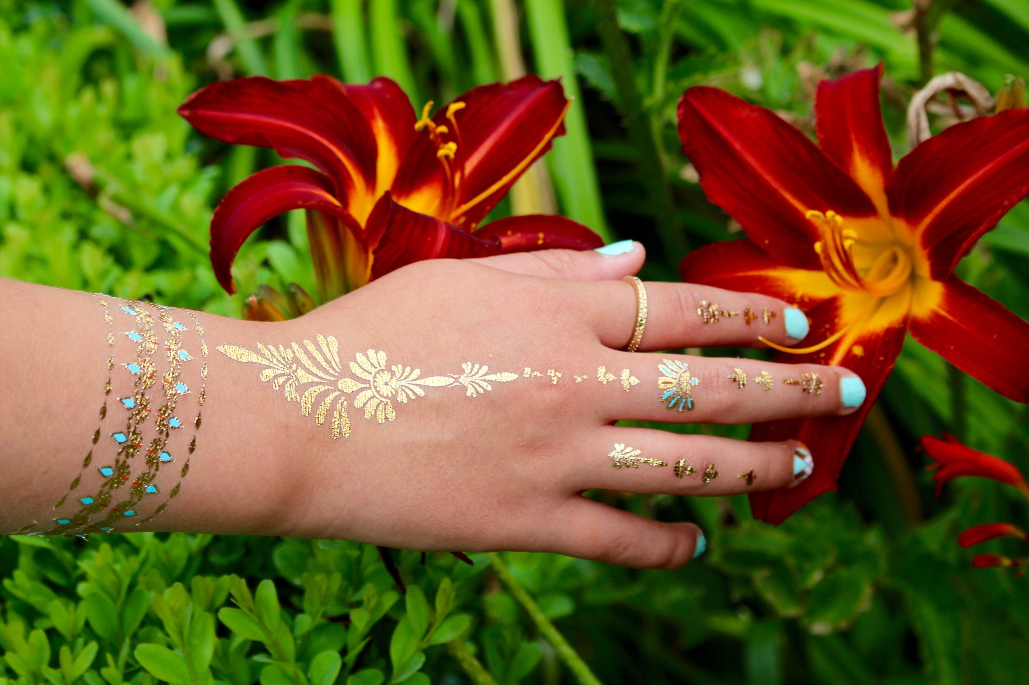 Karma Gold Aquamarine and Coral Temporary Metallic Tattoos - Azzy London